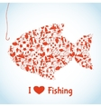 Love Fishing Concept vector image vector image