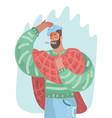 man having a cold or having flue vector image vector image