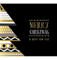 Merry Christmas gold abstract tree card design vector image vector image