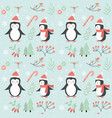 merry christmas seamless pattern cute penguin vector image vector image