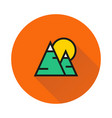 mountains and sun icon on round background vector image