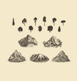 mounts shapes set with silhouettes trees vector image vector image