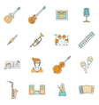 music icons line set vector image vector image