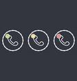outline dashed retro telephone handset symbol set vector image vector image