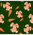 rabbit with carrot seamless pattern green vector image vector image