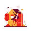 rainy day - colorful flat design style vector image