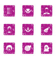 romantic sense icons set grunge style vector image vector image