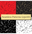 Seamless doodle ink pointer and arrow pattern set vector image vector image