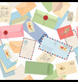 seamless pattern envelopes letters postcards vector image vector image