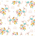 seamless pattern with colorful peacoks and vector image vector image