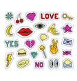 set fashion patches different badges and pins vector image