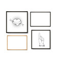 set of realistic light and dark wooden picture vector image vector image