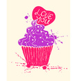 Silhouette of colorful cupcake with heart vector image vector image
