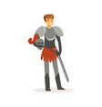 smiling knight standing with sword european vector image vector image