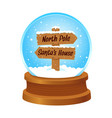 snow globe with wooden sign inside vector image vector image
