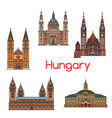 tourist sight of hungary thin line icon set vector image