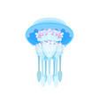 transparent glowing jellyfish beautiful sea vector image