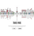 travel tour to paris poster in linear style vector image vector image