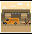 unloading of goods by forklift vector image vector image
