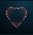 valentines day polygonal heart shape with dots vector image vector image