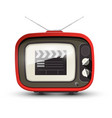 vintage tv with film clap on screen retro vector image vector image