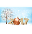 Winter 2017 background with a bauble vector image