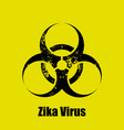 zika virus warning sign on a yellow background vector image