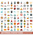 100 fitness startup icons set flat style vector image vector image