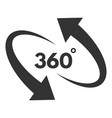 360 degree black icon in round rotation pictograph vector image vector image