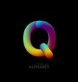3d iridescent gradient letter q vector image vector image