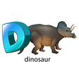 A letter D for dinosaur vector image vector image