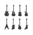 bass guitar silhouette set vector image