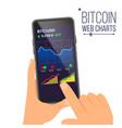 bitcoin web charts hand holding smartphone vector image vector image