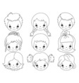 Black and White Kids Faces vector image