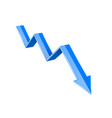 blue 3d down arrow financial graph vector image vector image
