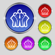 business team icon sign Round symbol on bright vector image vector image