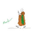 colored sketch of walking buddhist monk vector image