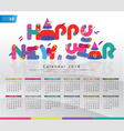 Colorful Calendar 2014 New Year Background vector image vector image