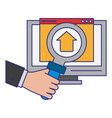 computer with upload sign and magnifying glass vector image vector image