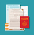 concept of documents for visa application set vector image