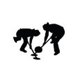 curling silhouette vector image vector image