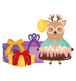 cute reinder in birthday party vector image vector image