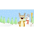 deer and the snowman vector image vector image