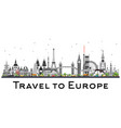famous landmarks in europe vector image vector image