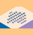geometric sans serif bulk font in isometric style vector image