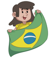 Girl Holding a Brazilian Flag vector image