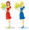 Girl with bouquet in hand vector image vector image