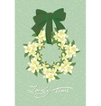 Greeting wedding card with flower wreath vector image vector image