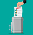hand puts election bill in trash vector image vector image