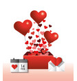 hearts inside present gift and calendar to vector image vector image